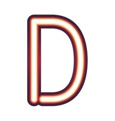 Glowing neon letter d vector