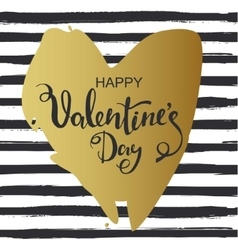 Hand drawn heart on striped background valentines vector