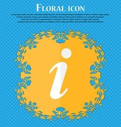 Information Info Floral flat design on a blue vector image