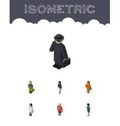 Isometric human set of policewoman guy girl and vector