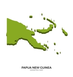 Isometric map of Papua New Guinea detailed vector image