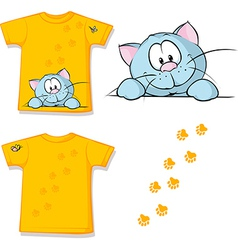 kid shirt with cute cat peeking printed - isolated vector image