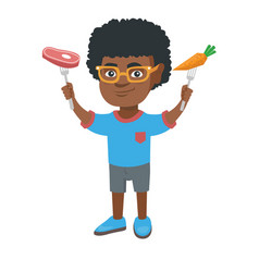 little african boy holding fresh carrot and steak vector image