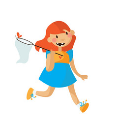 little girl running in a bright dress with scoop vector image vector image
