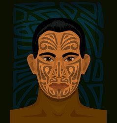 maori man with tattoed face vector image vector image
