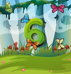 Number six with 6 butterflies in garden vector image vector image