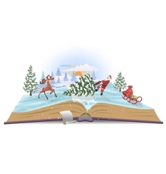 Open book about santa and christmas tree vector