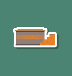 paper sticker on stylish background cheese sauce vector image vector image