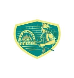 Pizza Maker Holding Peel Crest Woodcut vector image