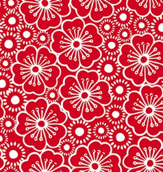 Red and white graphic hibiscus floral seamless vector image vector image