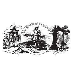 Seal of the commonwealth of virginia 1876 vintage vector
