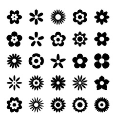 Set of black flower icons isolated on white vector