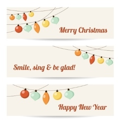 Set of retro banners with garlands christmas vector image