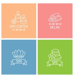 Set of spa labels in linear style vector image vector image