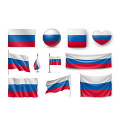 set russia flags banners banners symbols flat vector image