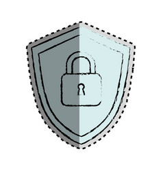sticker monochrome blurred of shield with padlock vector image vector image