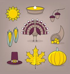 thanksgiving icons with turkey vector image