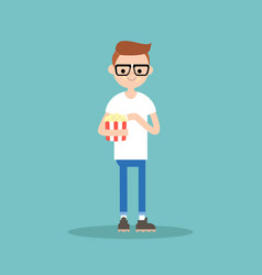 young funny nerd chewing popcorn full length vector image vector image