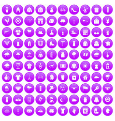 100 clothing icons set purple vector