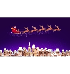 Santa claus in sleigh pulled by reindeer flying vector