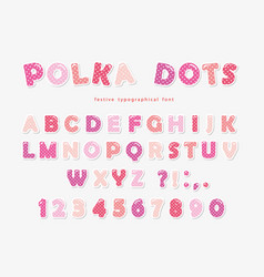 cute polka dots font in pastel pink paper cutout vector image