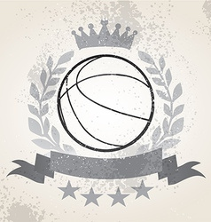 Grunge basketball laurel weath vector