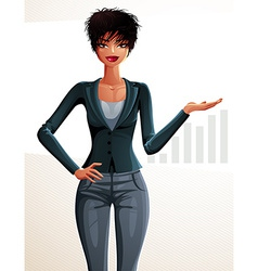 Beautiful mulatto businesswoman full-length vector