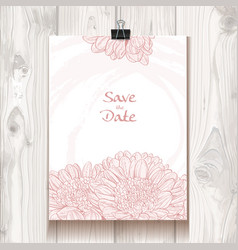 Invitation with chrysanthemum hanging on binder vector