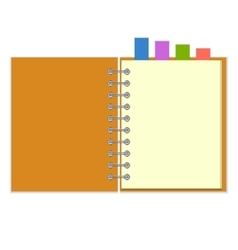 Blank notebook with colorful bookmarks vector