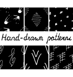 Set of hand-drawn seamless patterns vector