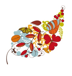 Abstract cute floral autumn card vector