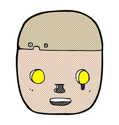 Comic cartoon robot head vector