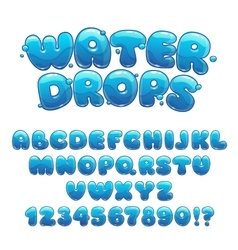 Cartoon water drops font vector