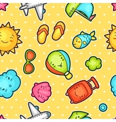 Seamless travel kawaii pattern with cute doodles vector image