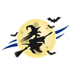 witch on broomstick vector image