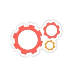 Paper sticker on white background gears teamwork vector