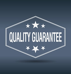 Quality guarantee hexagonal white vintage retro vector
