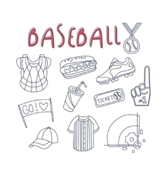 Baseball related object and inventory set vector