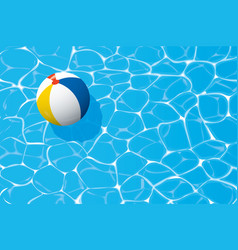 Beach ball floating in a blue swimming pool vector