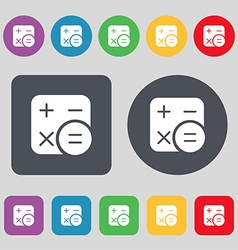 Calculator icon sign a set of 12 colored buttons vector