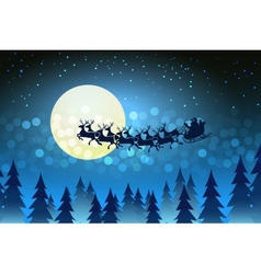 Christmas background with Santa driving his sleigh vector image vector image