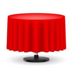 Classic round table with long red cloth isolated vector