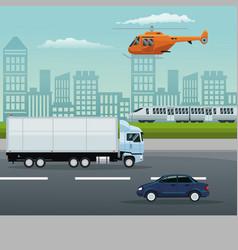 Color background city landscape with set vehicles vector