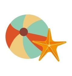 colorful beach ball and starfish graphic vector image