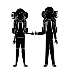 couple of backpackers vector image