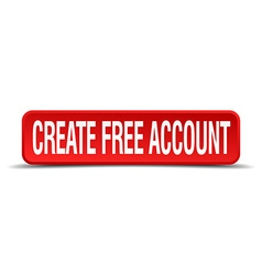 Create free account red three-dimensional square vector