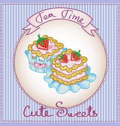 Cute cake card vector