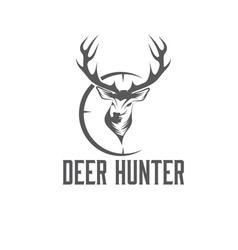 Deer hunter design template vector