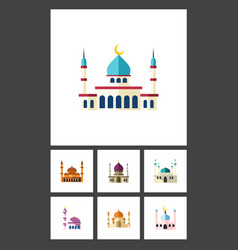 flat icon mosque set of religion islam muslim vector image vector image