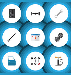 Flat icon service set of automobile part vector